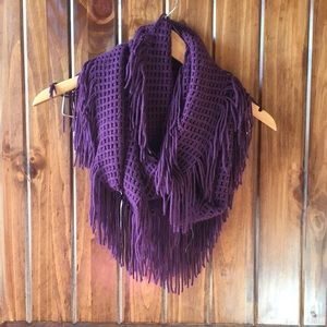 Purple Plum Eggplant Circle Fringe Scarf